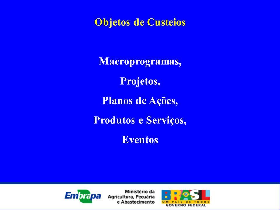 Objetos de Custeios Macroprogramas, Projetos, Planos de Ações, Produtos e Serviços, Eventos