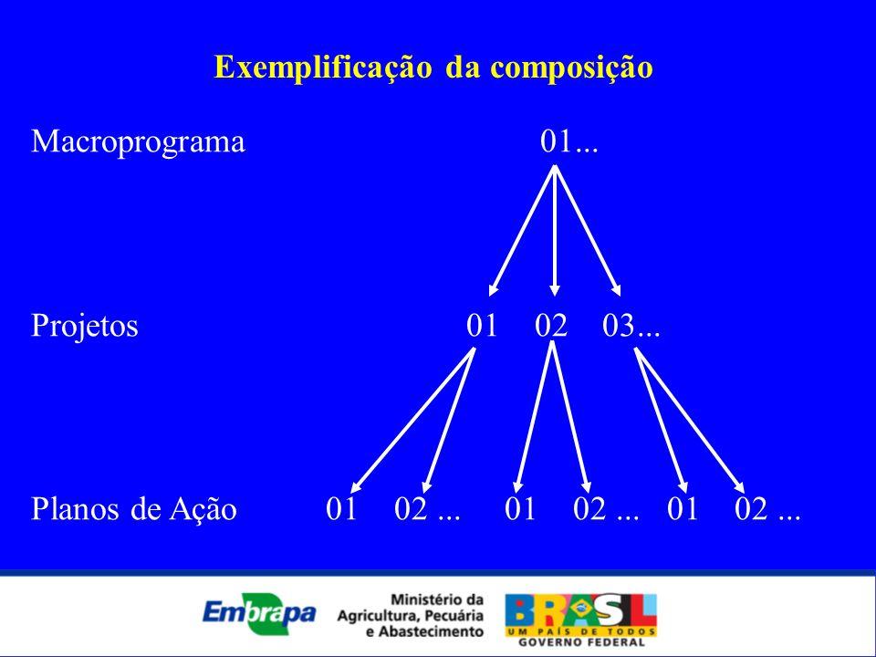 Macroprograma 01... Projetos 01 02 03... Planos de Ação 01 02... 01 02... 01 02... Exemplificação da composição