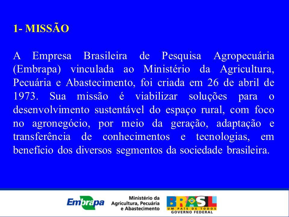 1- MISSÃO A Empresa Brasileira de Pesquisa Agropecuária (Embrapa) vinculada ao Ministério da Agricultura, Pecuária e Abastecimento, foi criada em 26 d