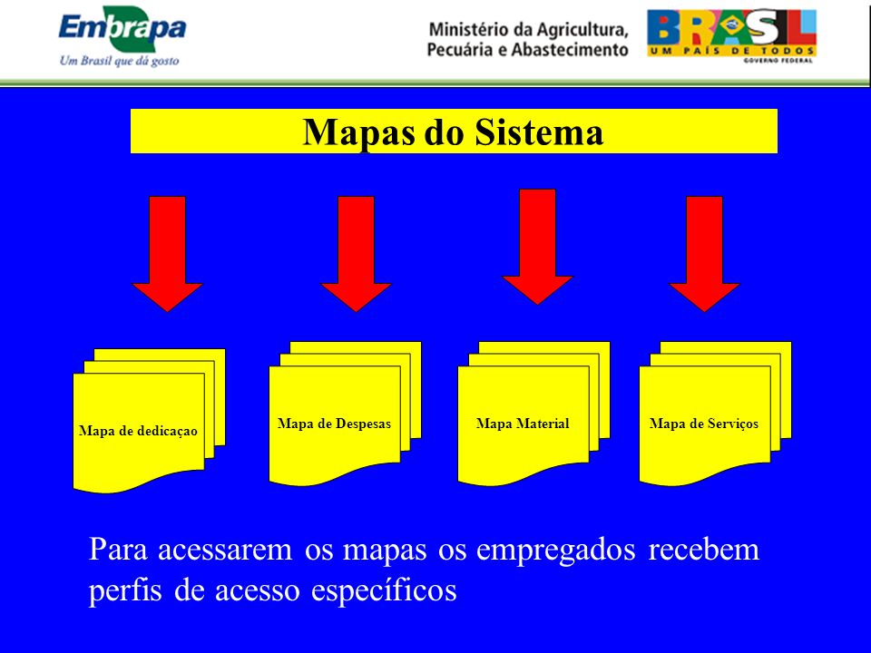 Mapa de dedicaçao Mapa de DespesasMapa MaterialMapa de Serviços Mapas do Sistema Para acessarem os mapas os empregados recebem perfis de acesso especí