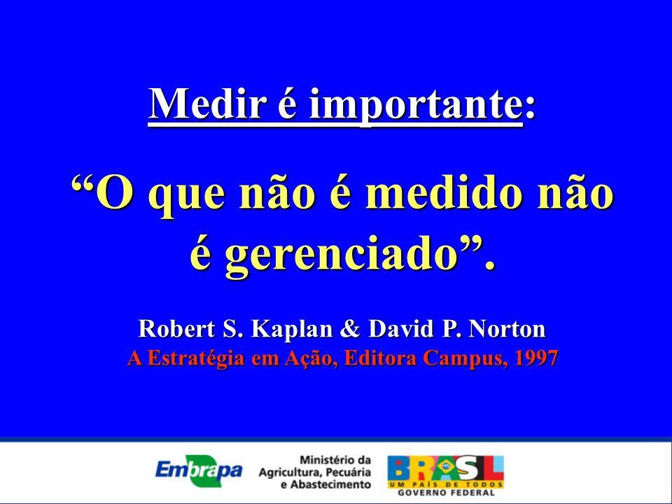 Medir é importante: O que não é medido não é gerenciado. Robert S. Kaplan & David P. Norton A Estratégia em Ação, Editora Campus, 1997