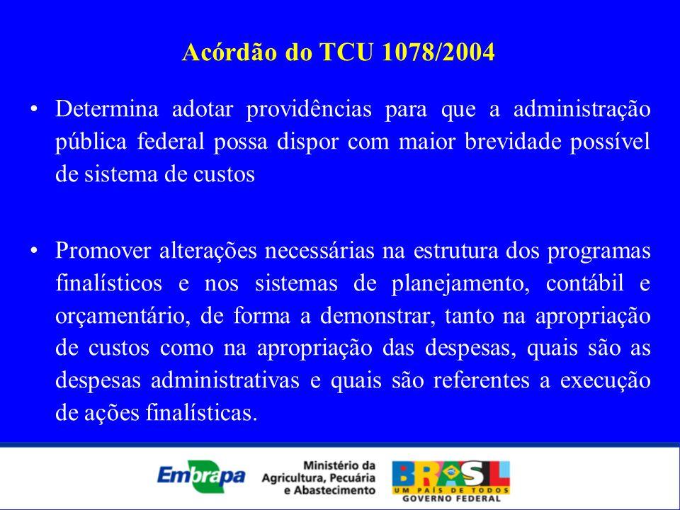 Acórdão do TCU 1078/2004 Determina adotar providências para que a administração pública federal possa dispor com maior brevidade possível de sistema d