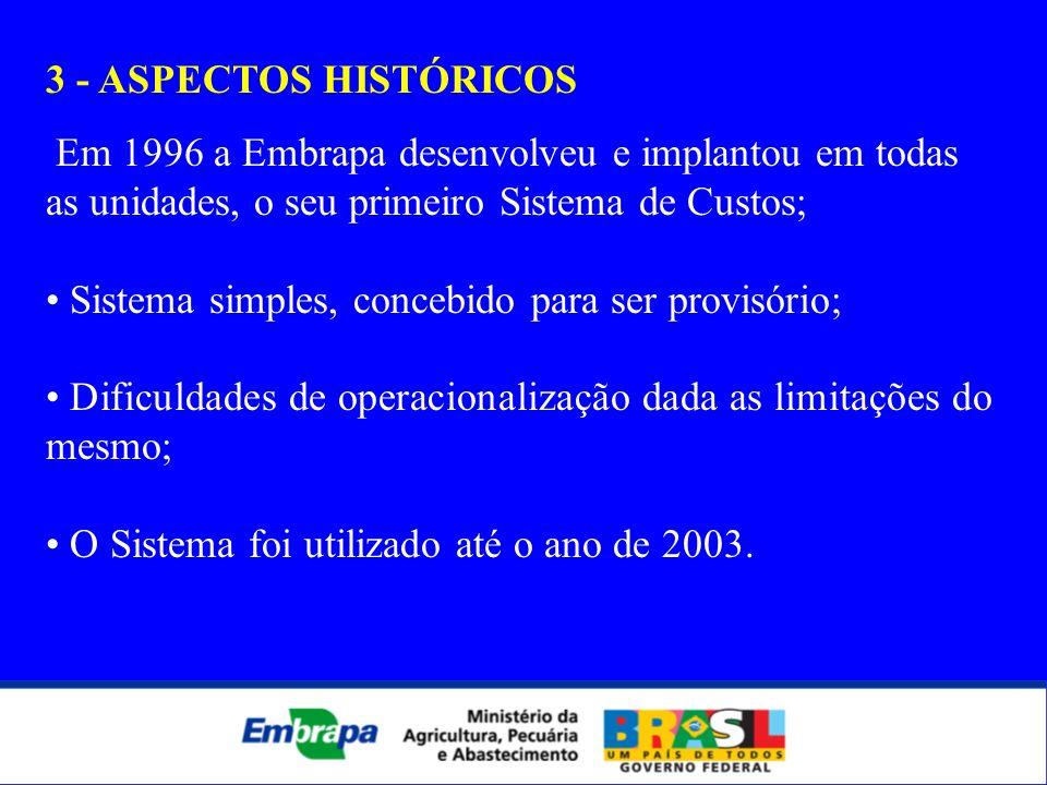 3 - ASPECTOS HISTÓRICOS Em 1996 a Embrapa desenvolveu e implantou em todas as unidades, o seu primeiro Sistema de Custos; Sistema simples, concebido p