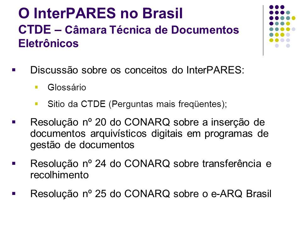 O InterPARES no Brasil CTDE – Câmara Técnica de Documentos Eletrônicos Discussão sobre os conceitos do InterPARES: Glossário Sitio da CTDE (Perguntas