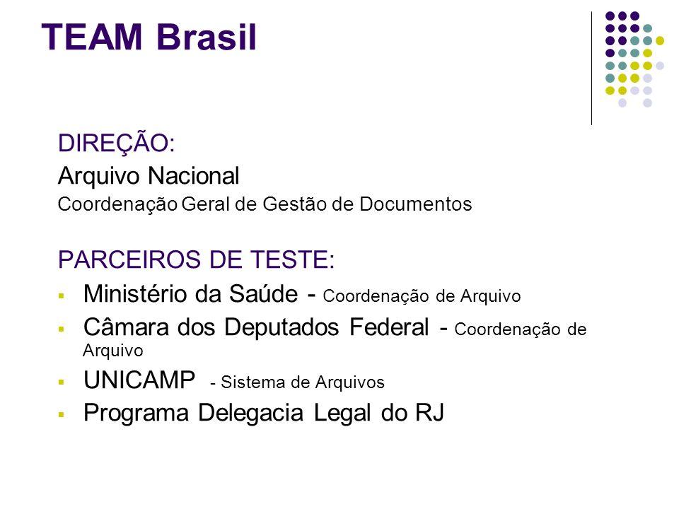 TEAM Brasil DIREÇÃO: Arquivo Nacional Coordenação Geral de Gestão de Documentos PARCEIROS DE TESTE: Ministério da Saúde - Coordenação de Arquivo Câmar