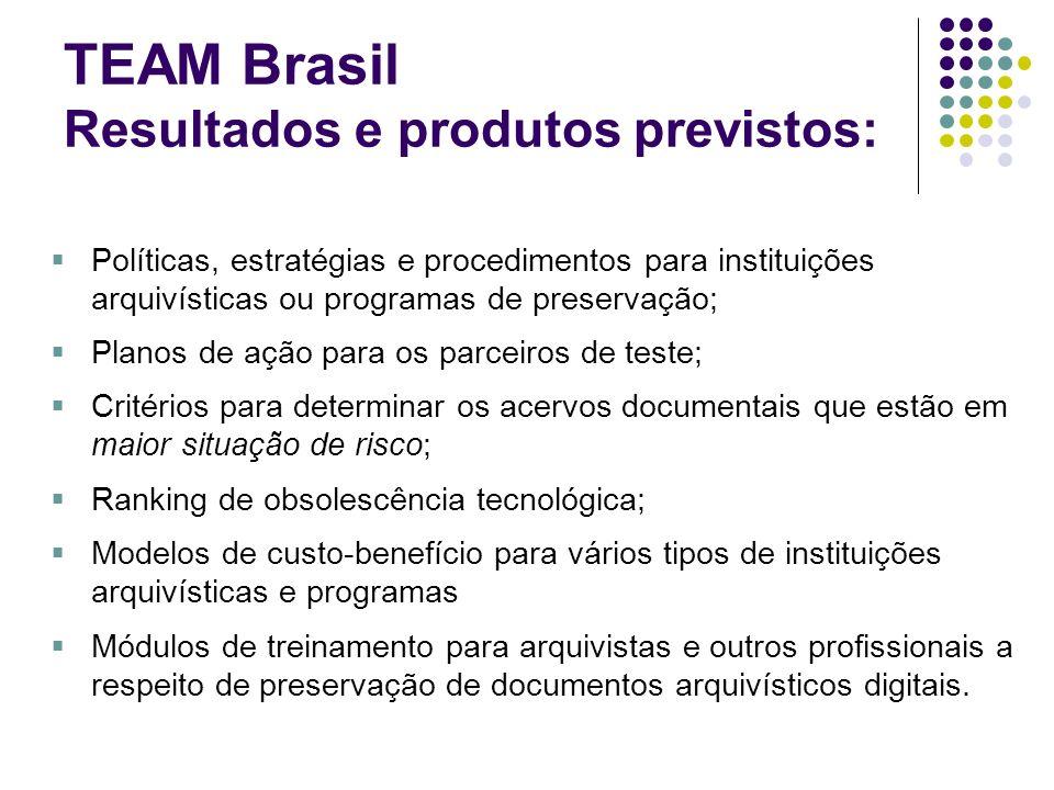 TEAM Brasil Resultados e produtos previstos: Políticas, estratégias e procedimentos para instituições arquivísticas ou programas de preservação; Plano
