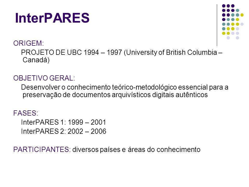 InterPARES ORIGEM: PROJETO DE UBC 1994 – 1997 (University of British Columbia – Canadá) OBJETIVO GERAL: Desenvolver o conhecimento teórico-metodológic