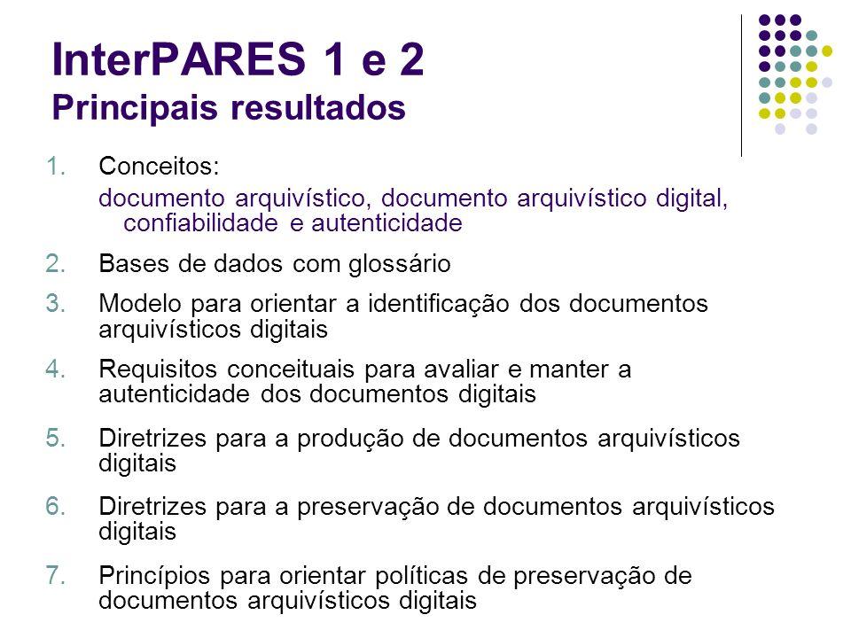 InterPARES 1 e 2 Principais resultados 1.Conceitos: documento arquivístico, documento arquivístico digital, confiabilidade e autenticidade 2.Bases de