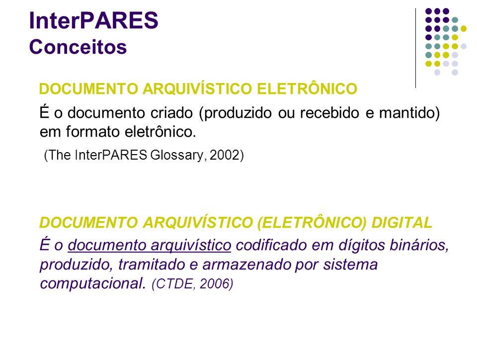 DOCUMENTO ARQUIVÍSTICO ELETRÔNICO É o documento criado (produzido ou recebido e mantido) em formato eletrônico. (The InterPARES Glossary, 2002) DOCUME