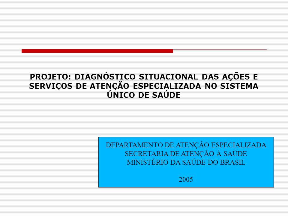 PROJETO: DIAGNÓSTICO SITUACIONAL DAS AÇÕES E SERVIÇOS DE ATENÇÃO ESPECIALIZADA NO SISTEMA ÚNICO DE SAÚDE DEPARTAMENTO DE ATENÇÃO ESPECIALIZADA SECRETA