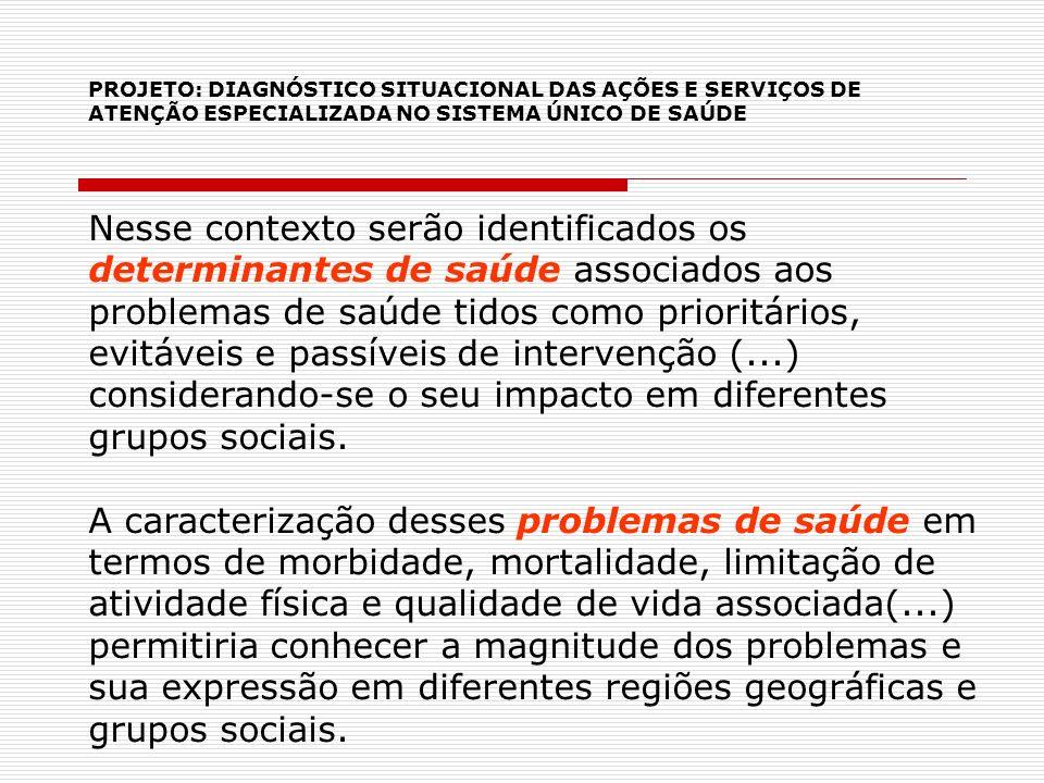 PROJETO: DIAGNÓSTICO SITUACIONAL DAS AÇÕES E SERVIÇOS DE ATENÇÃO ESPECIALIZADA NO SISTEMA ÚNICO DE SAÚDE Nesse contexto serão identificados os determi