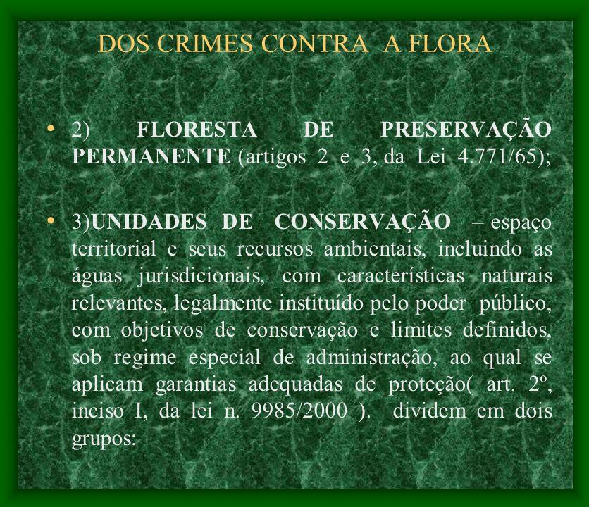 DOS CRIMES CONTRA A FLORA 2) FLORESTA DE PRESERVAÇÃO PERMANENTE (artigos 2 e 3, da Lei 4.771/65); 3)UNIDADES DE CONSERVAÇÃO – espaço territorial e seu