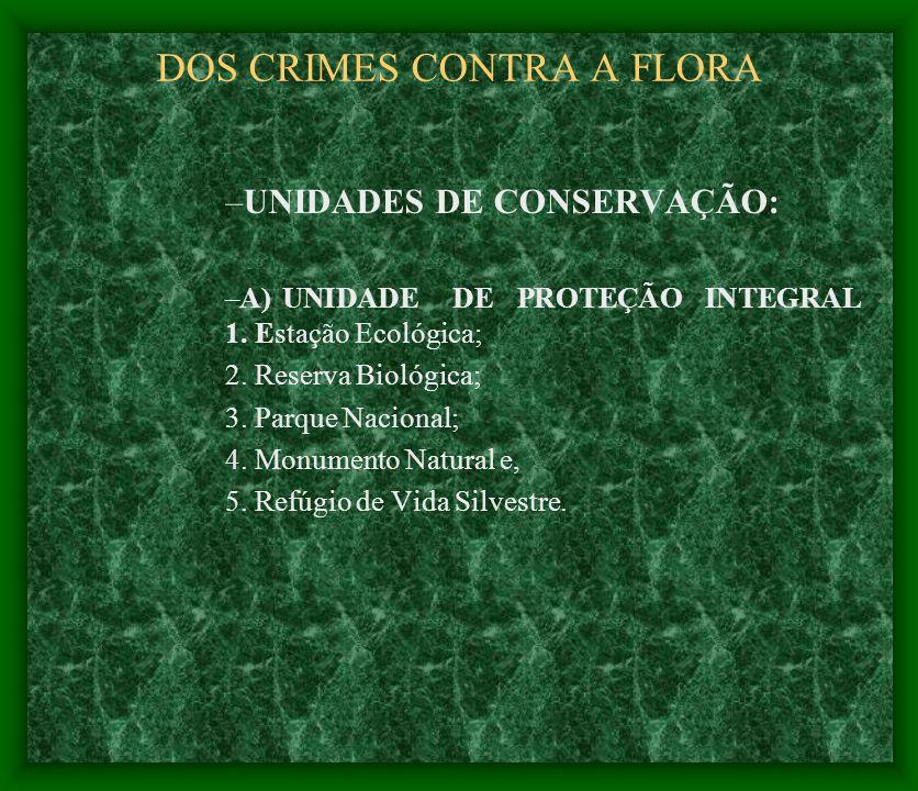 DOS CRIMES CONTRA A FLORA –UNIDADES DE CONSERVAÇÃO: –A) UNIDADE DE PROTEÇÃO INTEGRAL 1. Estação Ecológica; 2. Reserva Biológica; 3. Parque Nacional; 4