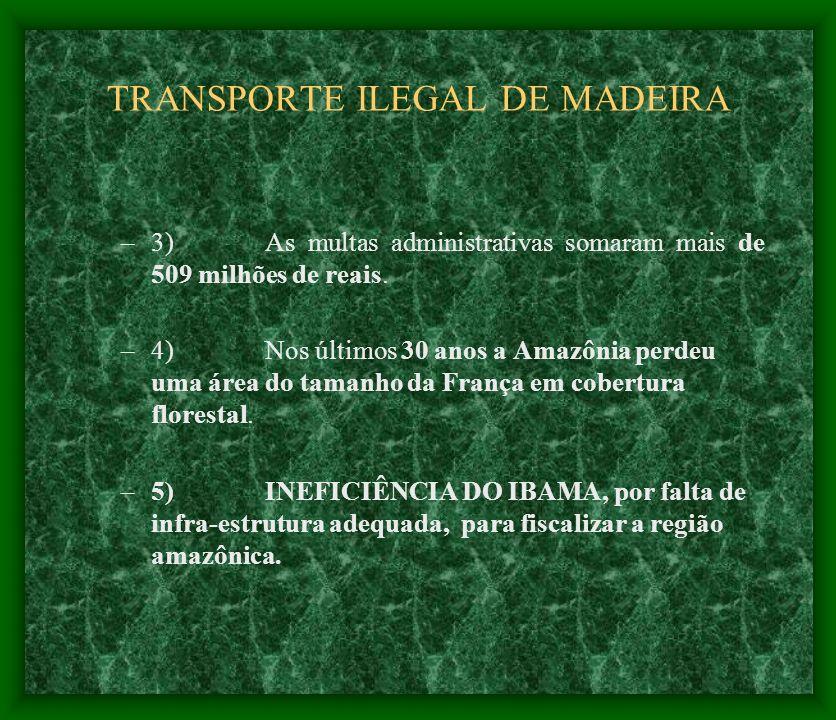 TRANSPORTE ILEGAL DE MADEIRA –3)As multas administrativas somaram mais de 509 milhões de reais. –4) Nos últimos 30 anos a Amazônia perdeu uma área do