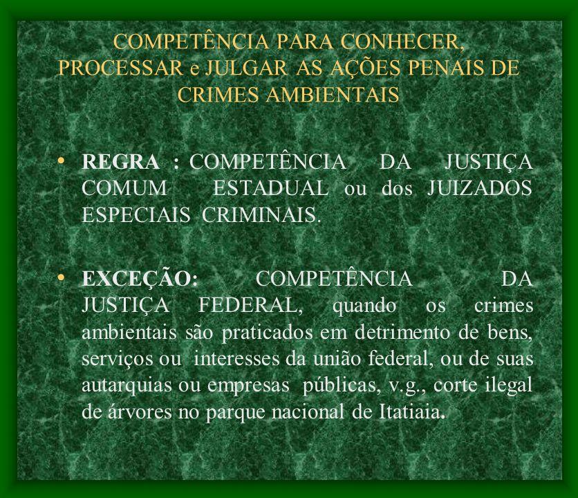 COMPETÊNCIA PARA CONHECER, PROCESSAR e JULGAR AS AÇÕES PENAIS DE CRIMES AMBIENTAIS REGRA :COMPETÊNCIA DA JUSTIÇA COMUM ESTADUAL ou dos JUIZADOS ESPECI