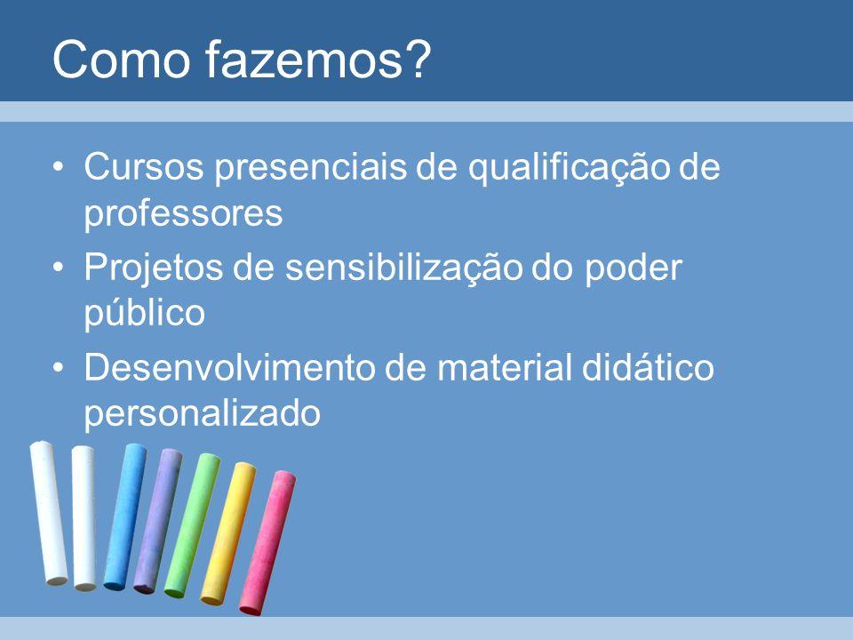 Como fazemos? Cursos presenciais de qualificação de professores Projetos de sensibilização do poder público Desenvolvimento de material didático perso