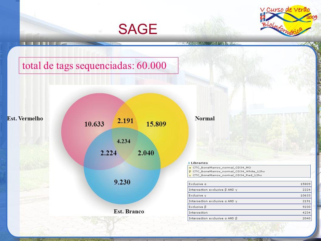 Est. VermelhoNormal Est. Branco 10.633 2.191 9.230 2.0402.224 15.809 4.234 SAGE total de tags sequenciadas: 60.000