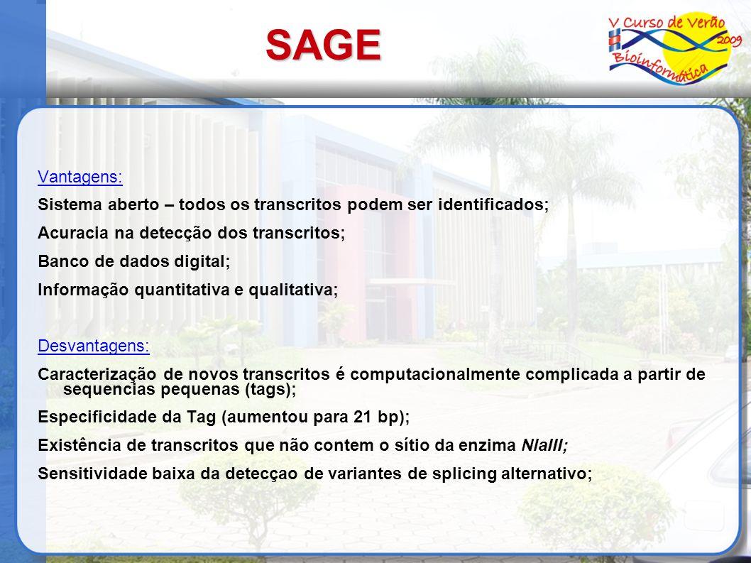SAGE Vantagens: Sistema aberto – todos os transcritos podem ser identificados; Acuracia na detecção dos transcritos; Banco de dados digital; Informaçã