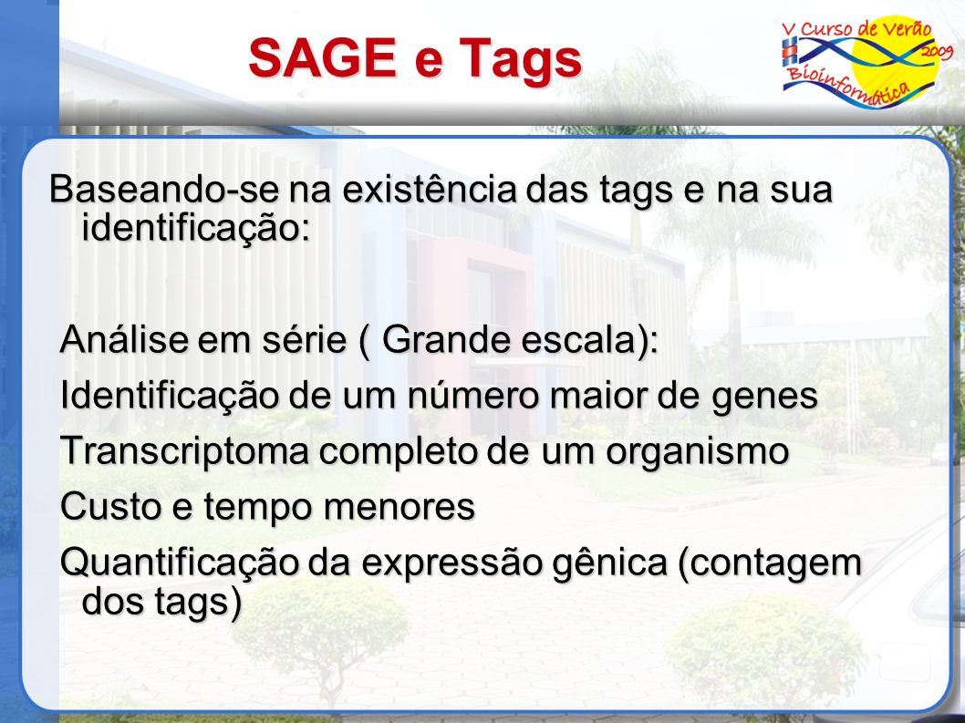 SAGE e Tags Baseando-se na existência das tags e na sua identificação: Análise em série ( Grande escala): Análise em série ( Grande escala): Identific