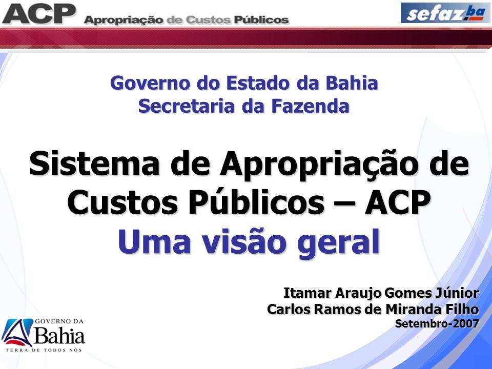 Objetivos do Sistema ACP Atender às determinações da LRF; Permitir o conhecimento e o controle do custo dos serviços públicos; Constituir um parâmetro para as decisões estratégicas; Contribuir para a melhoria da qualidade do gasto público;