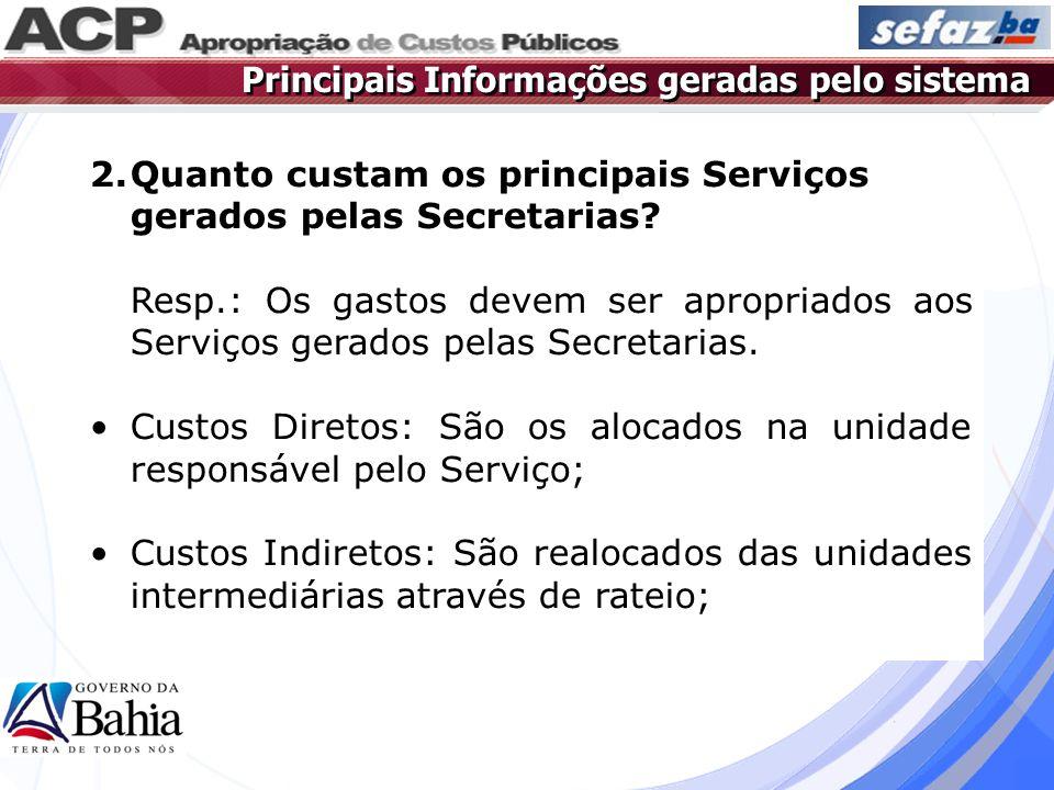 2.Quanto custam os principais Serviços gerados pelas Secretarias? Resp.: Os gastos devem ser apropriados aos Serviços gerados pelas Secretarias. Custo