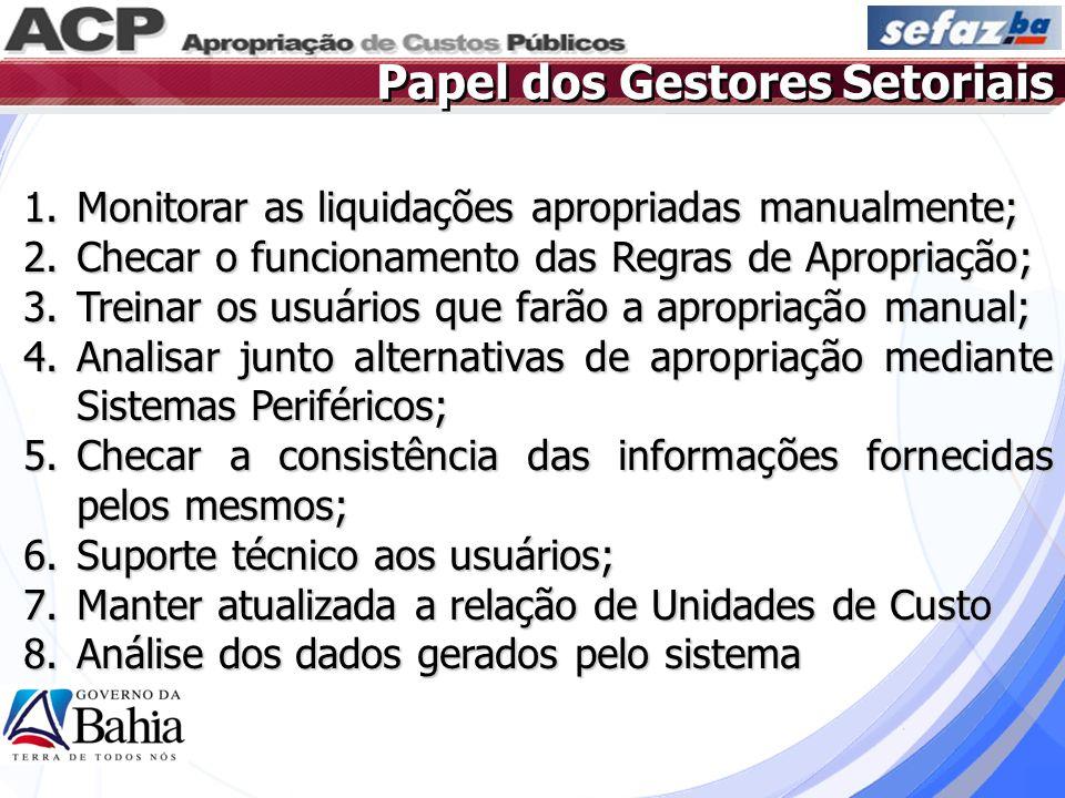 Papel dos Gestores Setoriais 1.Monitorar as liquidações apropriadas manualmente; 2.Checar o funcionamento das Regras de Apropriação; 3.Treinar os usuá