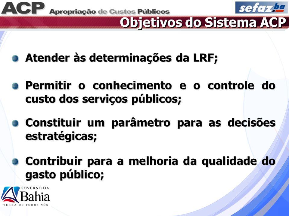 Objetivos do Sistema ACP Atender às determinações da LRF; Permitir o conhecimento e o controle do custo dos serviços públicos; Constituir um parâmetro