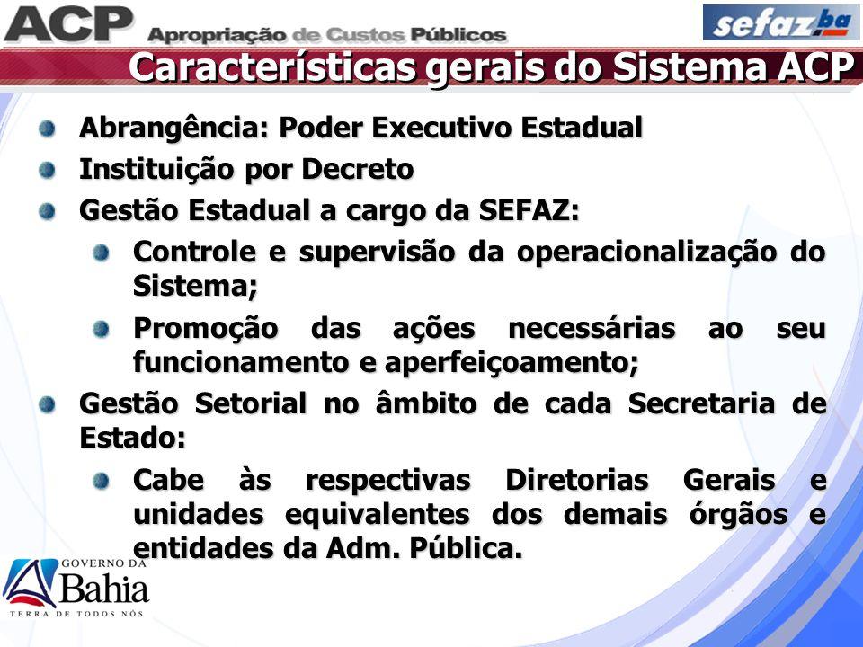 Características gerais do Sistema ACP Abrangência: Poder Executivo Estadual Instituição por Decreto Gestão Estadual a cargo da SEFAZ: Controle e super