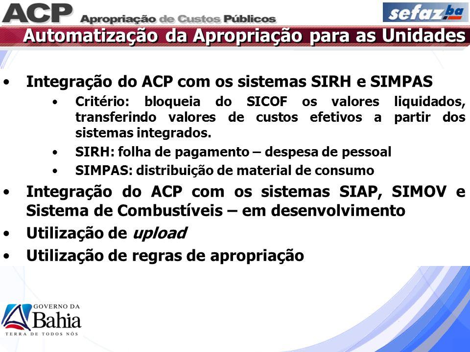 Integração do ACP com os sistemas SIRH e SIMPAS Critério: bloqueia do SICOF os valores liquidados, transferindo valores de custos efetivos a partir do
