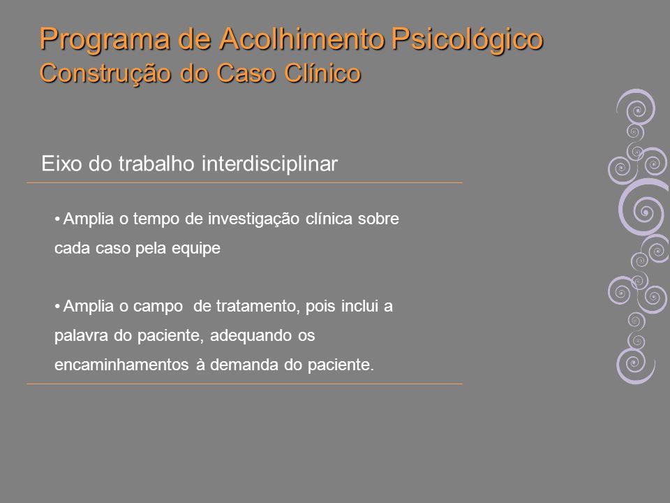 Programa de Acolhimento Psicológico Construção do Caso Clínico Amplia o tempo de investigação clínica sobre cada caso pela equipe Amplia o campo de tr