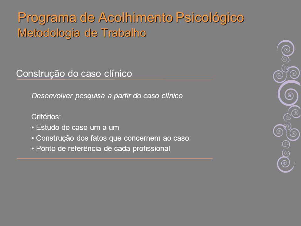 Programa de Acolhimento Psicológico Construção do Caso Clínico Amplia o tempo de investigação clínica sobre cada caso pela equipe Amplia o campo de tratamento, pois inclui a palavra do paciente, adequando os encaminhamentos à demanda do paciente.