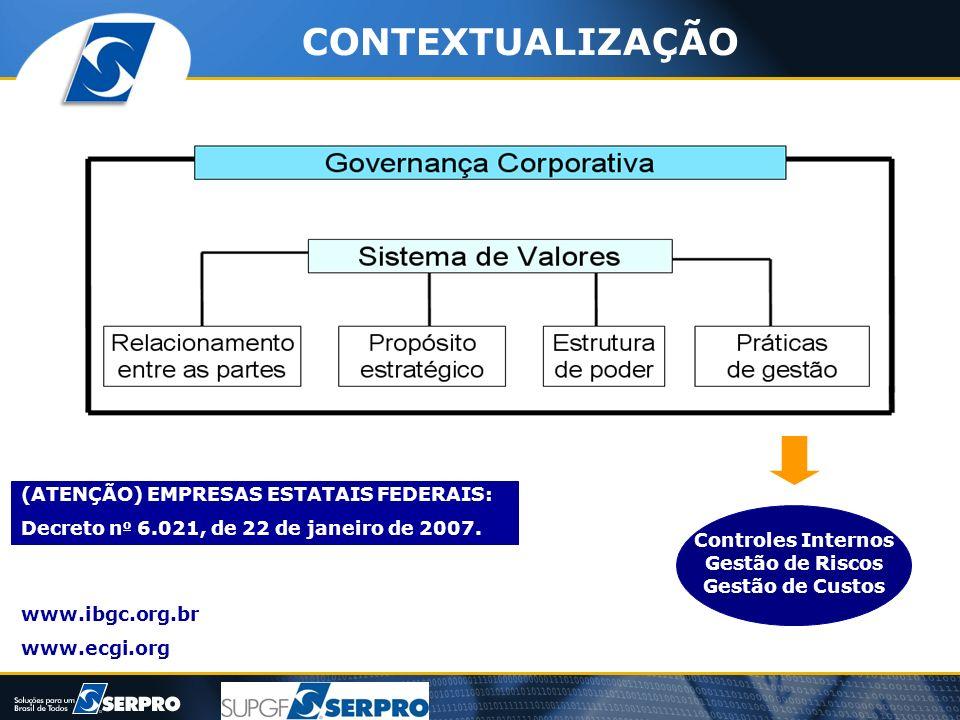 Controles Internos Gestão de Riscos Gestão de Custos www.ibgc.org.br www.ecgi.org (ATENÇÃO) EMPRESAS ESTATAIS FEDERAIS: Decreto n o 6.021, de 22 de ja