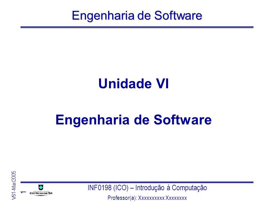 INF0198 (ICO) – Introdução à Computação Professor(a): Xxxxxxxxxx Xxxxxxxx VS1-Mar/2005 1 Engenharia de Software Unidade VI Engenharia de Software