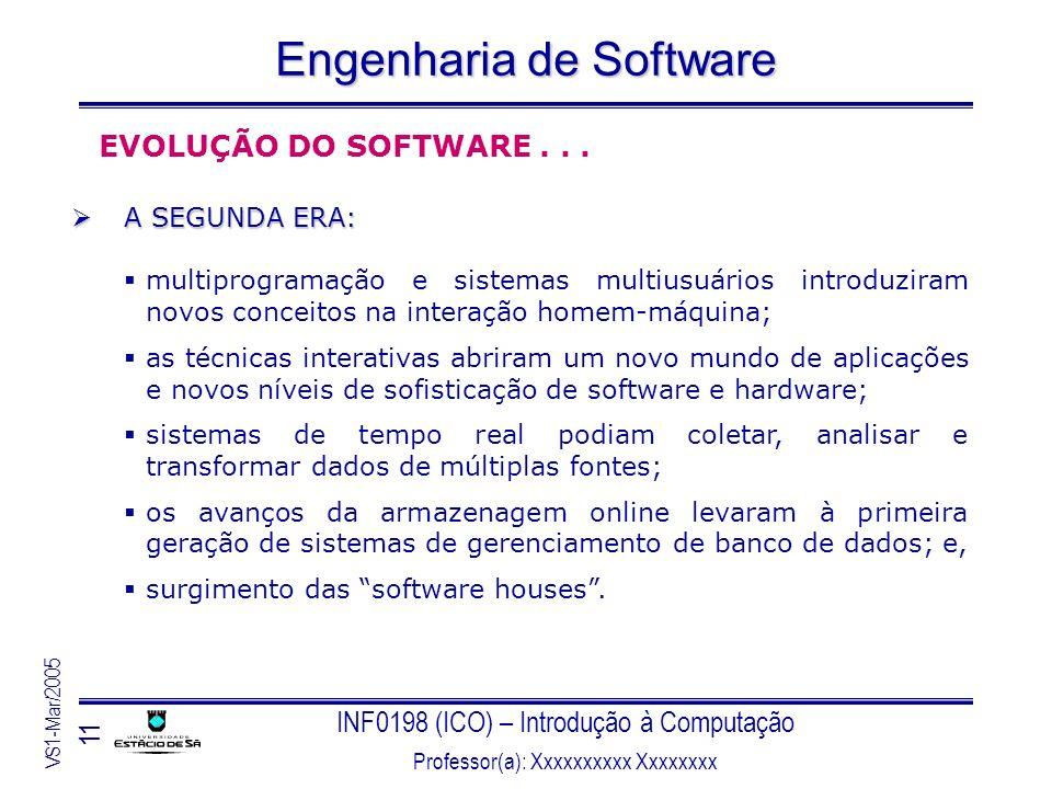INF0198 (ICO) – Introdução à Computação Professor(a): Xxxxxxxxxx Xxxxxxxx VS1-Mar/2005 11 Engenharia de Software EVOLUÇÃO DO SOFTWARE... A SEGUNDA ERA
