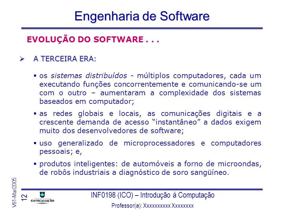 INF0198 (ICO) – Introdução à Computação Professor(a): Xxxxxxxxxx Xxxxxxxx VS1-Mar/2005 12 Engenharia de Software EVOLUÇÃO DO SOFTWARE... A TERCEIRA ER