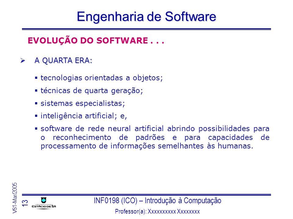 INF0198 (ICO) – Introdução à Computação Professor(a): Xxxxxxxxxx Xxxxxxxx VS1-Mar/2005 13 Engenharia de Software EVOLUÇÃO DO SOFTWARE... A QUARTA ERA: