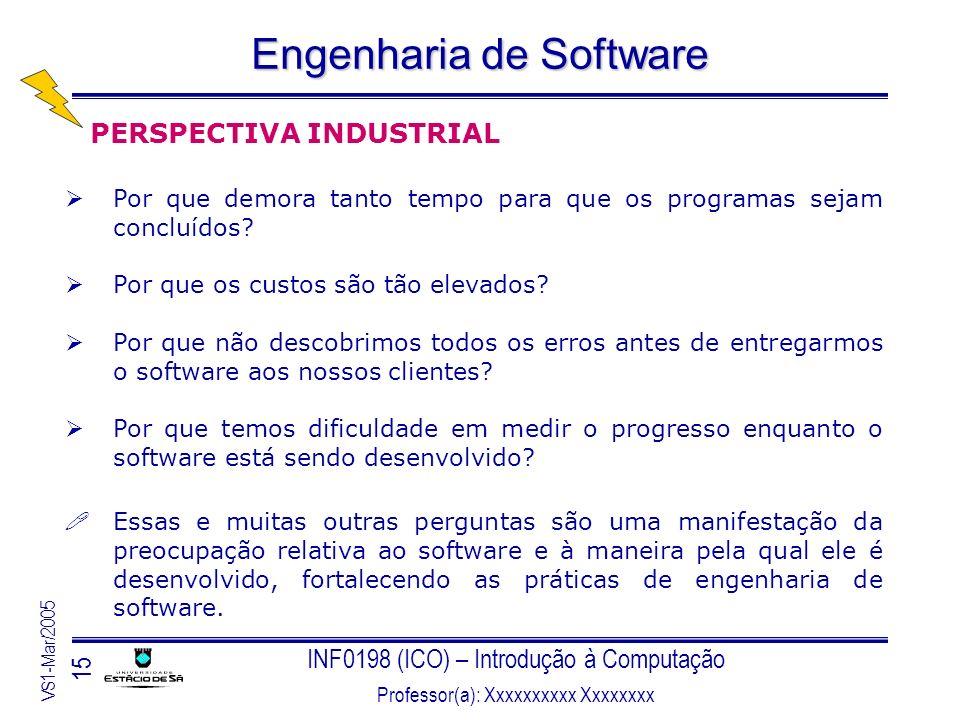 INF0198 (ICO) – Introdução à Computação Professor(a): Xxxxxxxxxx Xxxxxxxx VS1-Mar/2005 15 Engenharia de Software PERSPECTIVA INDUSTRIAL Por que demora