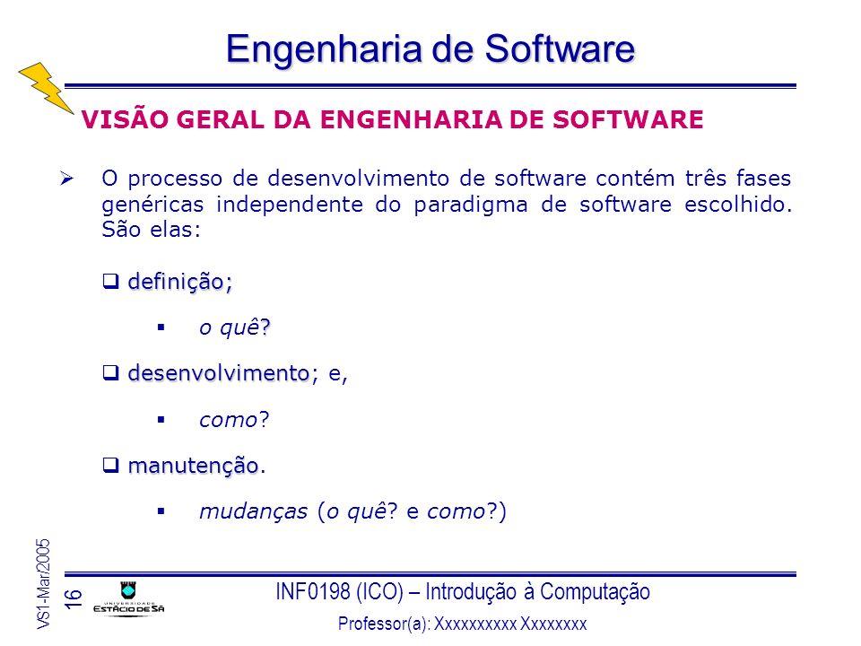 INF0198 (ICO) – Introdução à Computação Professor(a): Xxxxxxxxxx Xxxxxxxx VS1-Mar/2005 16 Engenharia de Software VISÃO GERAL DA ENGENHARIA DE SOFTWARE