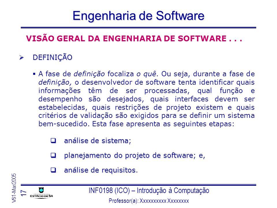 INF0198 (ICO) – Introdução à Computação Professor(a): Xxxxxxxxxx Xxxxxxxx VS1-Mar/2005 17 Engenharia de Software VISÃO GERAL DA ENGENHARIA DE SOFTWARE
