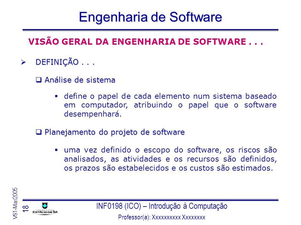 INF0198 (ICO) – Introdução à Computação Professor(a): Xxxxxxxxxx Xxxxxxxx VS1-Mar/2005 18 Engenharia de Software VISÃO GERAL DA ENGENHARIA DE SOFTWARE