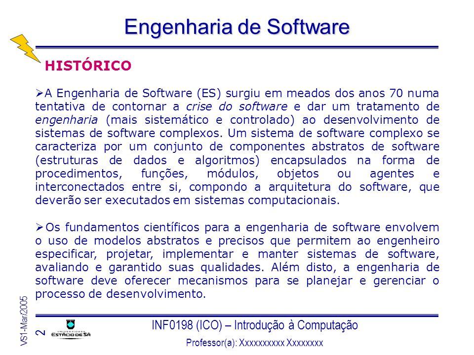 INF0198 (ICO) – Introdução à Computação Professor(a): Xxxxxxxxxx Xxxxxxxx VS1-Mar/2005 2 Engenharia de Software HISTÓRICO A Engenharia de Software (ES