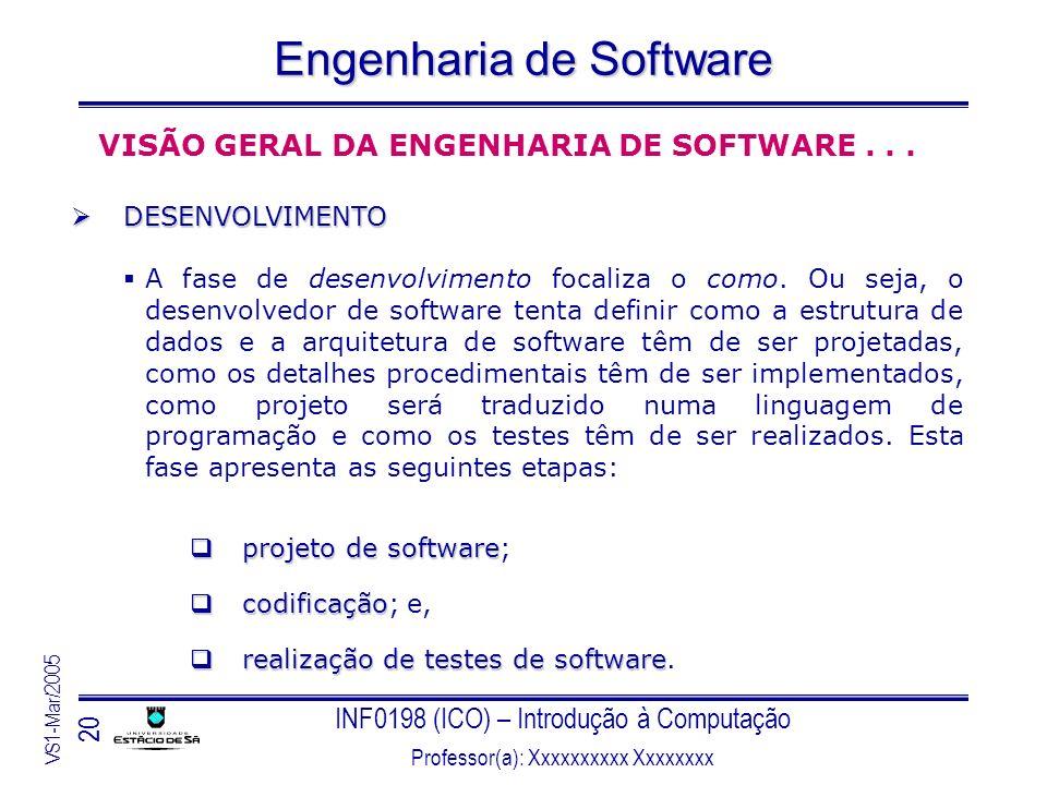 INF0198 (ICO) – Introdução à Computação Professor(a): Xxxxxxxxxx Xxxxxxxx VS1-Mar/2005 20 Engenharia de Software VISÃO GERAL DA ENGENHARIA DE SOFTWARE