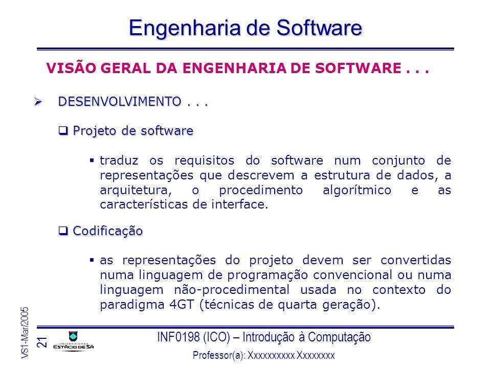 INF0198 (ICO) – Introdução à Computação Professor(a): Xxxxxxxxxx Xxxxxxxx VS1-Mar/2005 21 Engenharia de Software VISÃO GERAL DA ENGENHARIA DE SOFTWARE