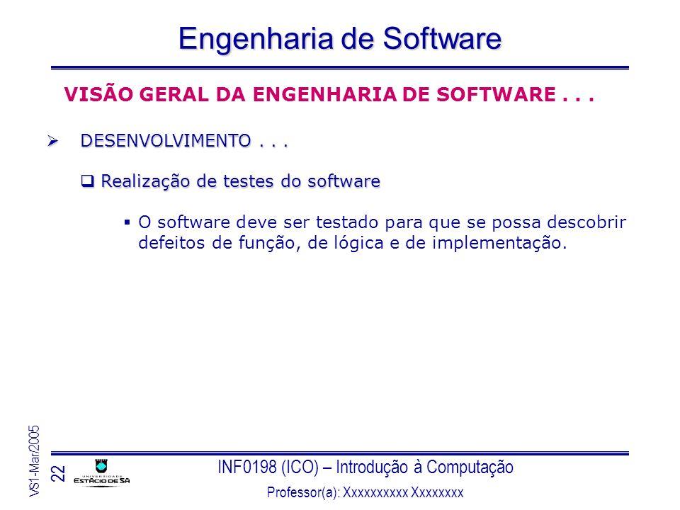 INF0198 (ICO) – Introdução à Computação Professor(a): Xxxxxxxxxx Xxxxxxxx VS1-Mar/2005 22 Engenharia de Software VISÃO GERAL DA ENGENHARIA DE SOFTWARE