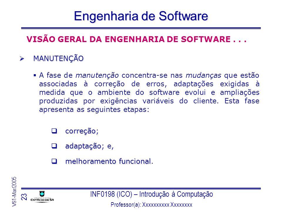 INF0198 (ICO) – Introdução à Computação Professor(a): Xxxxxxxxxx Xxxxxxxx VS1-Mar/2005 23 Engenharia de Software VISÃO GERAL DA ENGENHARIA DE SOFTWARE