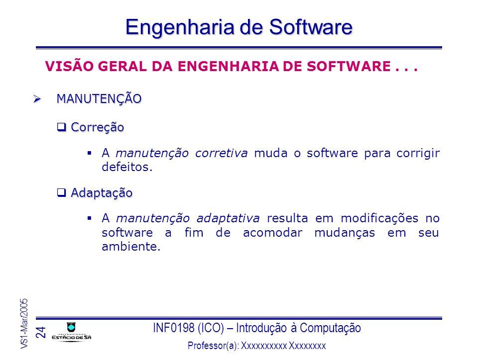 INF0198 (ICO) – Introdução à Computação Professor(a): Xxxxxxxxxx Xxxxxxxx VS1-Mar/2005 24 Engenharia de Software VISÃO GERAL DA ENGENHARIA DE SOFTWARE