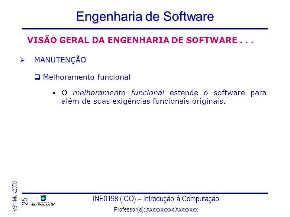 INF0198 (ICO) – Introdução à Computação Professor(a): Xxxxxxxxxx Xxxxxxxx VS1-Mar/2005 25 Engenharia de Software VISÃO GERAL DA ENGENHARIA DE SOFTWARE