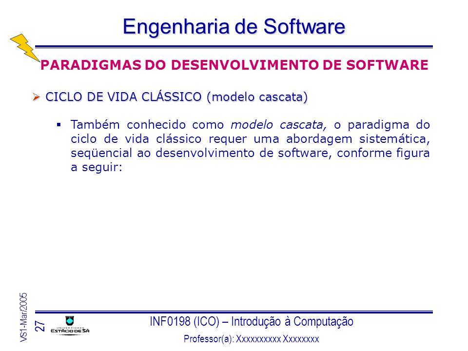 INF0198 (ICO) – Introdução à Computação Professor(a): Xxxxxxxxxx Xxxxxxxx VS1-Mar/2005 27 Engenharia de Software PARADIGMAS DO DESENVOLVIMENTO DE SOFT