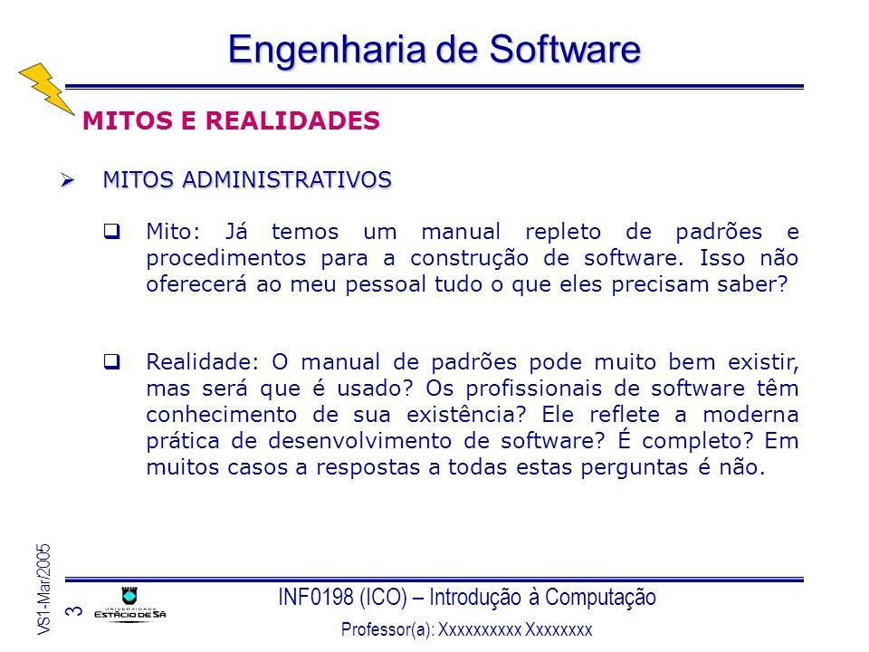 INF0198 (ICO) – Introdução à Computação Professor(a): Xxxxxxxxxx Xxxxxxxx VS1-Mar/2005 3 Engenharia de Software MITOS E REALIDADES MITOS ADMINISTRATIV