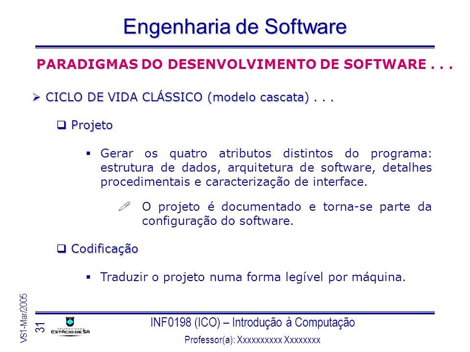 INF0198 (ICO) – Introdução à Computação Professor(a): Xxxxxxxxxx Xxxxxxxx VS1-Mar/2005 31 Engenharia de Software PARADIGMAS DO DESENVOLVIMENTO DE SOFT